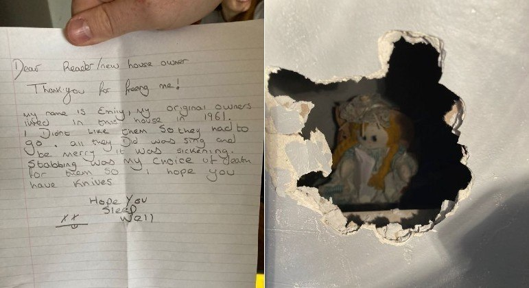 A doll was found behind the wall with a murder warrant